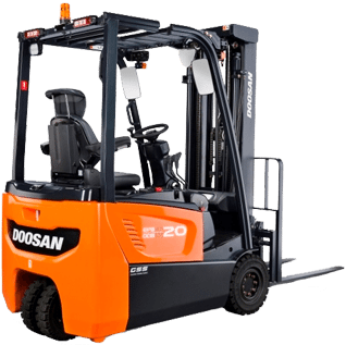 A Doosan electric forklift