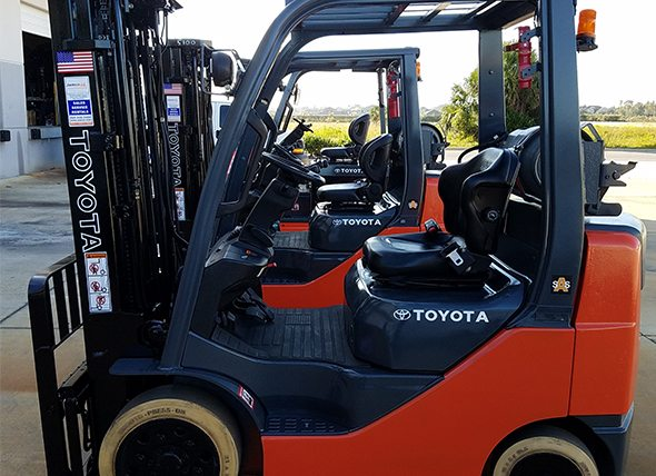 Toyota forklifts at the Jacksonville Jamco location