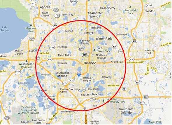 Map of the Orlando area with a circle around it
