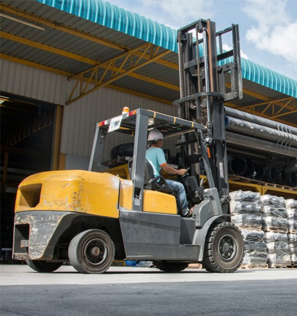 An outdoor forklift being operated