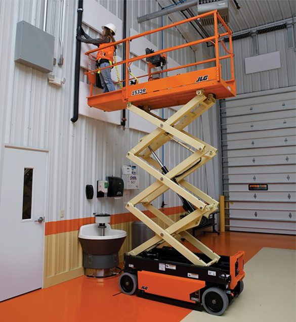 A person on a scissor lift