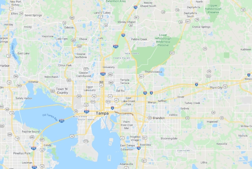 Map of the tampa area