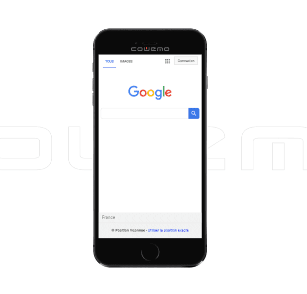 A shot of google on a mobile phone using Mobile Phone Emulator