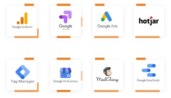 An assortment of logos of the analytics tools ROAR! uses: Google Analytics, Google Optimize, Google Ads, HotJar, Tag Manager, Google My Business, Mailchimp, Google Data Studio