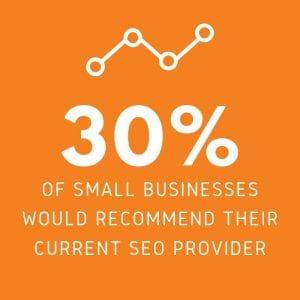 30% of small businesses would recommend their current seo provider