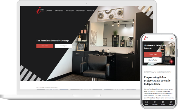 iStudio Salons Website in Mobile and Desktop versions
