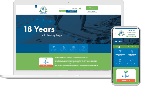 Vascular Vein Centers website at desktop and mobile versions