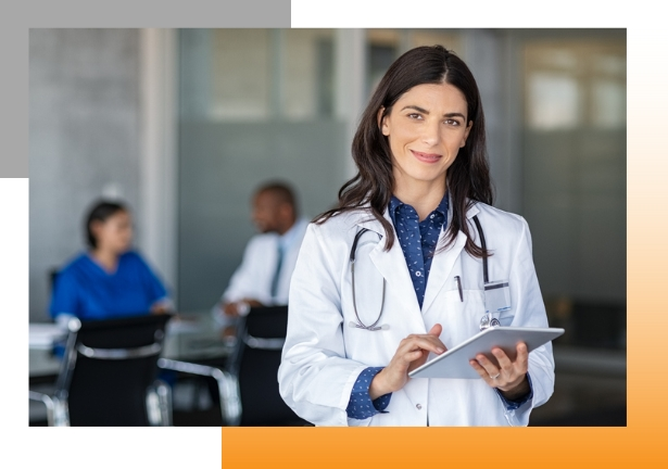 Female doctor with tablet