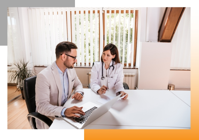Marketer and doctor working together