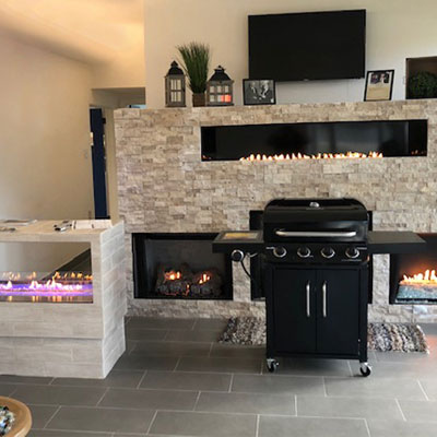 Thermotane showroom with a grill and fireplaces