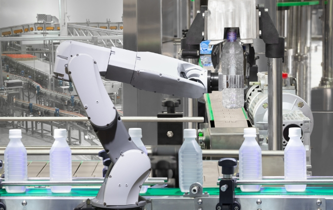 Robots working on a materials handling line