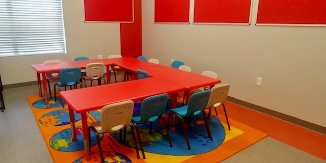 St. Anthony Wayfind flooring in a classroom