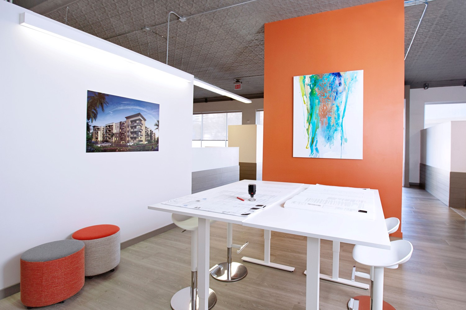 design office with drafting table