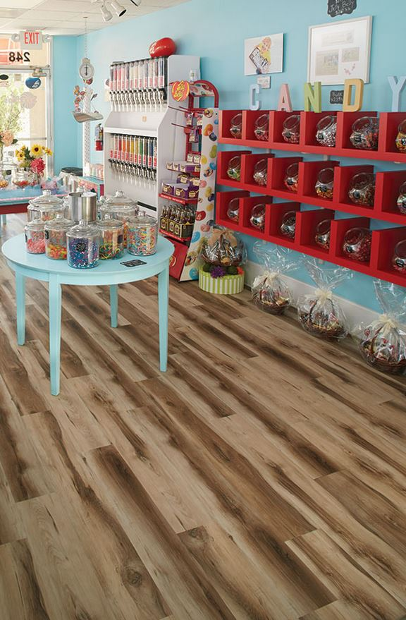 wooden floor in brightly colored candy shop