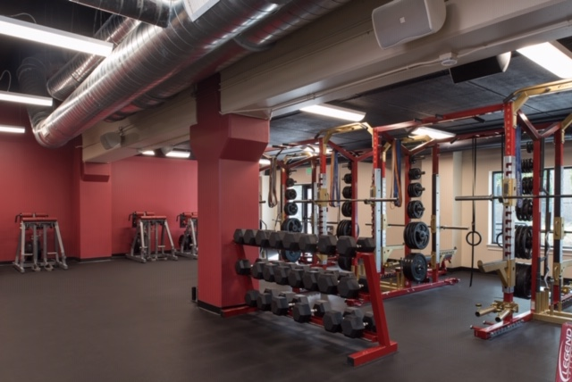 fitness room and dumbells on rack