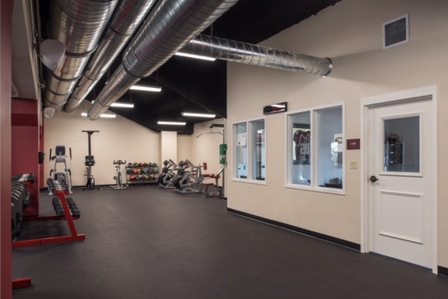 fitness room with rubber flooring