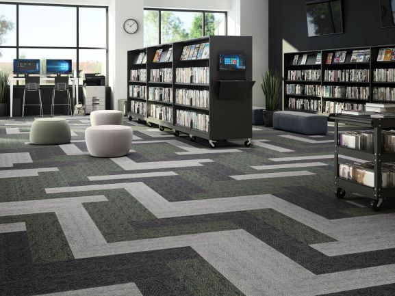 Bookshelves on Top of Woven Vinyl Floor in Library