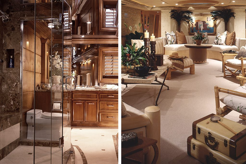 yacht design bathroom and sitting area