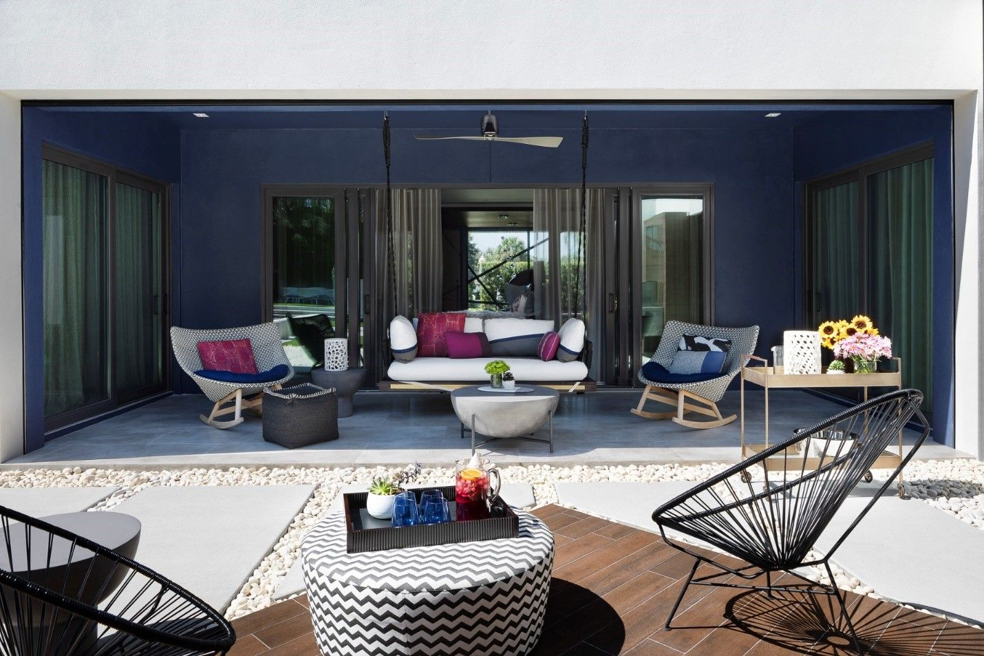 patio with blue walls