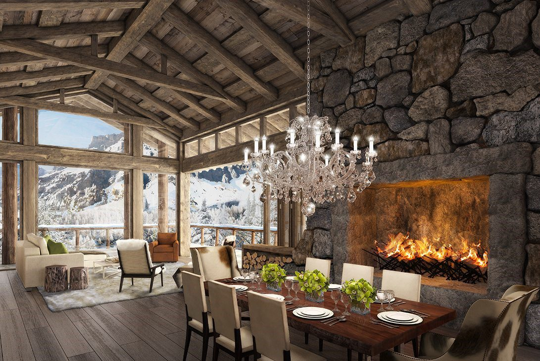 rustic luxury interior design dining room with mountain view by Marc-Michaels