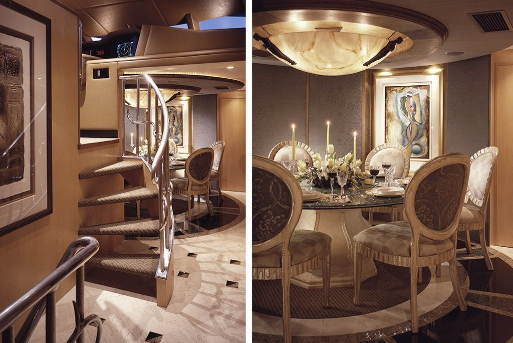 luxury yacht lavish dining room interior with spiral staircase