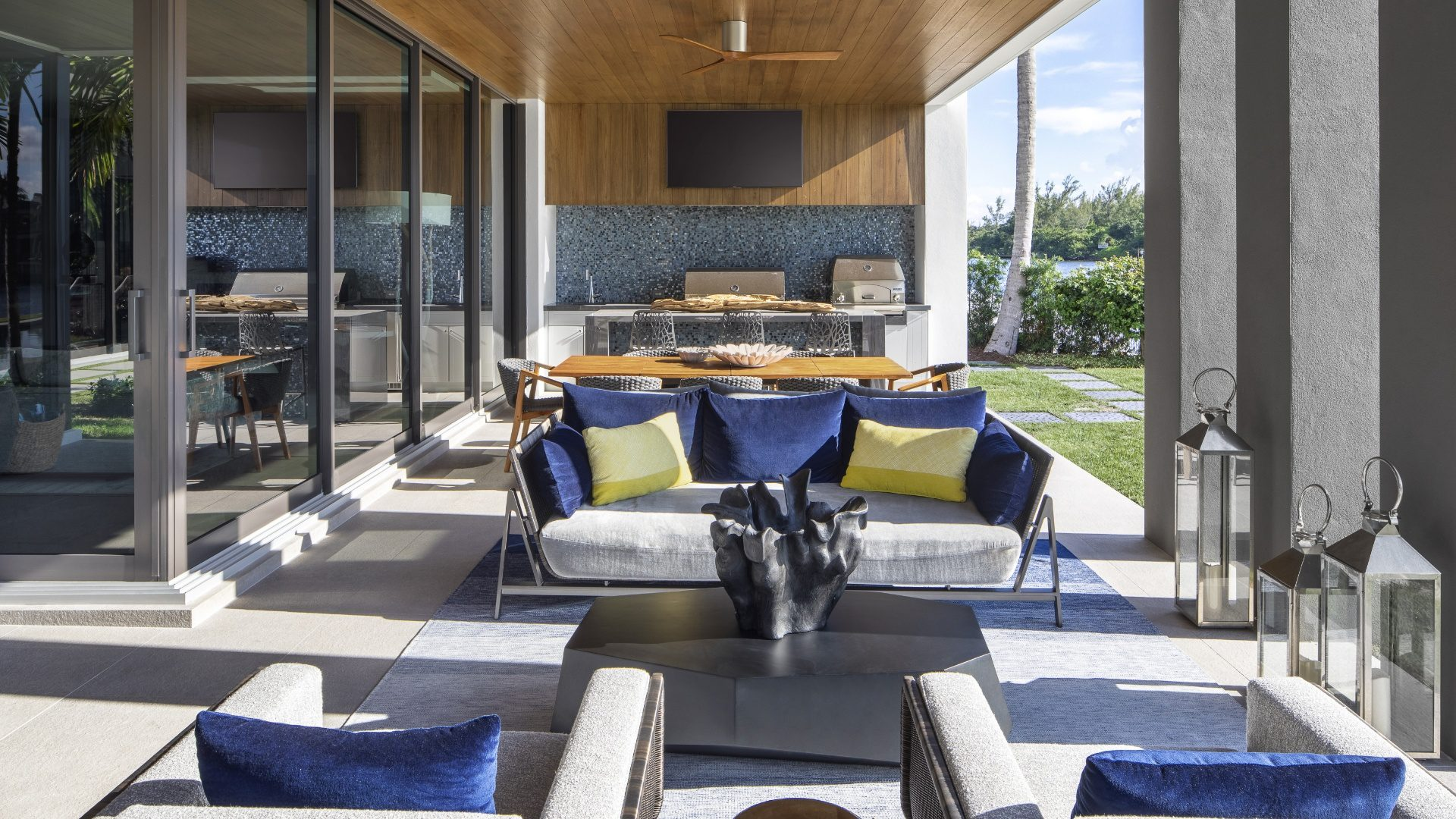 A beautiful outdoor living space of a recently designed Marc-Michaels home