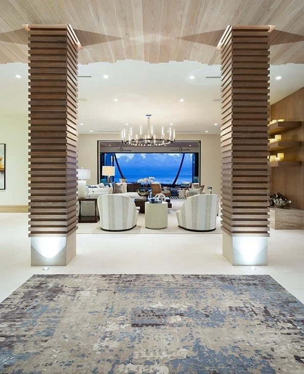 Ultra-Modern Oceanfront Estate's luxury grand foyer