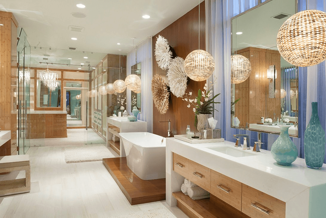 A Modern bathroom with luxurious wall mirror accessories.